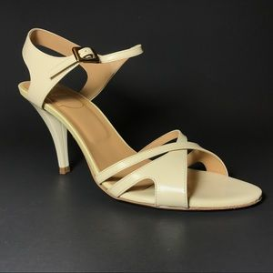 ROGER VIVIER IVORY CREAM 6.5 LEATHER SANDAL HEELS